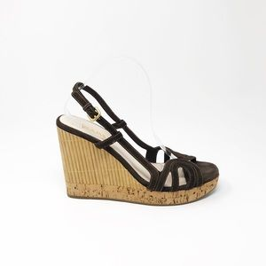 Prada Suede Leather Bamboo Cork Wedge Sandals 41